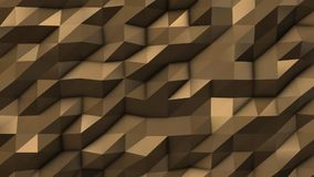 Gold abstract low poly triangle field. 4k Stock Photo