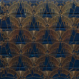 Gold abstract pattern on painted blue wood background. 3d rendering. Abstract voronoi gold pattern on painted blue wood background. 3d rendering Royalty Free Stock Photos