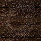 Gold abstract pattern on wood background. 3d rendering. Abstract voronoi gold pattern on wood background. 3d rendering Royalty Free Stock Image