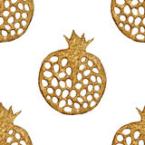 Gold abstract pomegranate pattern. Hand painted seamless background. Summer fruit illustration. vector illustration