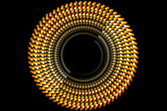 Gold abstract shape and black background. Abstract form and black background, particle circle Royalty Free Stock Photos