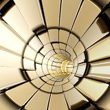 Gold abstract shapes futuristic tunnel. 3d rendering Stock Photography
