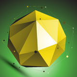 Gold abstract spherical vector object with lines mesh Royalty Free Stock Images