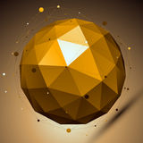 Gold abstract spherical vector object with lines mesh placed ove Royalty Free Stock Images