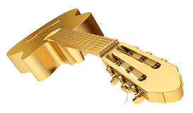 Gold Acoustic Guitar isolated Stock Image