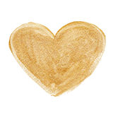 Gold acrylic heart. Hand drawn. Royalty Free Stock Photography