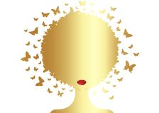 Gold Afro curly butterflies decorative composition with silhouette portrait black girl. Beauty center concept, hairstyle salon
