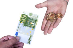Gold against cash money. On white background Stock Photo