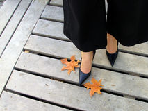 Gold age. Yellow fallen down leaves, female legs Stock Photo