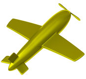 Gold airplane 3d Stock Image