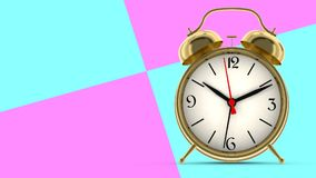 Gold alarm clock. 3D render. Gold alarm clock on abstract background. 3D render Stock Photos