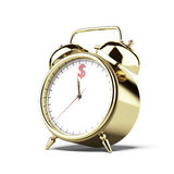 Gold alarm clock with dollar sign Royalty Free Stock Photography