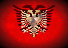 Gold Albania Flag Stock Photo