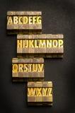 Gold Alphabet. Alphabet done in letterpress type royalty free stock photo