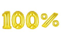100 one hundred percent, gold color Royalty Free Stock Photography