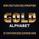 Gold alphabet font. Beveled metal color letters and numbers. Stock vector typescript for your design royalty free illustration