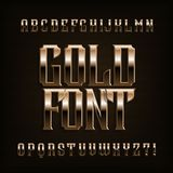 Gold alphabet font. Fantasy metal effect letters, numbers and symbols. Stock vector vintage typeface for your design Stock Images