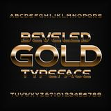 Gold alphabet font. Golden beveled glossy letters, numbers and symbols. Royalty Free Stock Photography
