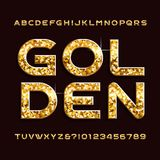 Gold alphabet font. Golden glitter letters and numbers. Stock Image
