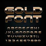 Gold alphabet font. Modern golden letters, numbers and symbols. vector illustration