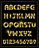 Gold alphabet font typeface with numbers Royalty Free Stock Photos