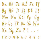 Gold alphabet isolated on white background. Gold dotted, confetti alphabet isolated on white background. Letters, numbers and punctuation marks. ABC poster Stock Photos