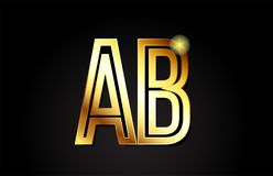 Gold alphabet letter ab a b logo combination icon design. Gold alphabet letter ab a b logo combination design suitable for a company or business Royalty Free Illustration