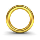Gold alphabet letter O or golden ring. Over white background with reflection and shadow. 3D rendering Stock Photos
