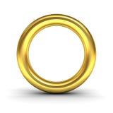 Gold alphabet letter O or golden ring Stock Photos