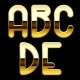 Gold alphabet letters. Isolated raster version of vector image of gold alphabet capital letters (contain the Clipping Path). There is in addition a vector format Royalty Free Stock Images