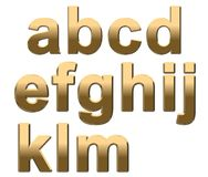 Gold Alphabet Letters Lowercase A - M On White. 3D Render Stock Image