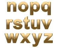 Gold Alphabet Letters Lowercase N-Z On White Royalty Free Stock Image