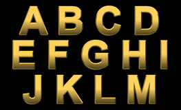 Gold Alphabet Letters A- M. Gold Alphabet Letters Uppercase A - M On Black Royalty Free Stock Image