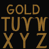 Gold Alphabet Letters Uppercase T - Z and word GOLD Stock Image