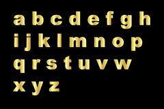 Gold alphabet - lowercase royalty free stock images