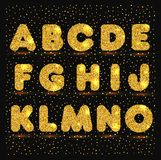 Gold alphabet in metallic style. Glitter vector illustration Royalty Free Stock Images