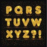 Gold alphabet in metallic style. Glitter vector illustration stock illustration