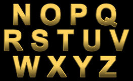 Gold Alphabet N- Z Stock Image