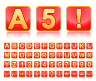 Gold alphabet in red squares. Stock Photography