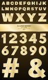 Gold alphabet for shows and presentations. Gold numbers and letters with a pattern. Metallic symbols Royalty Free Stock Photo