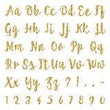 Gold alphabet on white background. Lettering. Gold dotted, confetti alphabet on white background. Letters, numbers and punctuation marks. ABC poster vector illustration