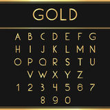 Gold alphabetic fonts and numbers. Font isolated on black backgroud. Vector illustration Royalty Free Stock Images