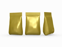 Gold aluminium foil bag packaging for a wide variety of products Royalty Free Stock Photos