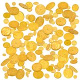 Gold american dollar coins falling down royalty free stock image