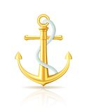 Gold anchor with rope on white background. Royalty Free Stock Photography