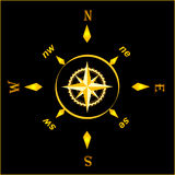 Gold ancient compass. Symbol illustration: gold ancient compass Stock Photos