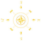 Gold ancient compass. Symbol illustration: gold ancient compass Stock Photo