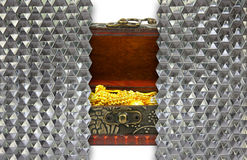 gold in ancient treasure chest behind wall crystal hexagon glass Royalty Free Stock Photo