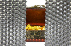 gold in ancient treasure chest behind wall crystal hexagon glass Royalty Free Stock Images