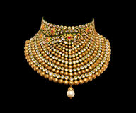 Free Gold And Diamond Necklace On Black Background Stock Images - 54025434